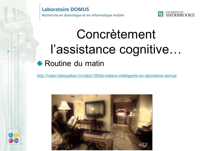 Concrètement l'assistance cognitive… Routine du matin http://video.telequebec.tv/video/185/la-maison-intelligente-du-laboratoire-domus