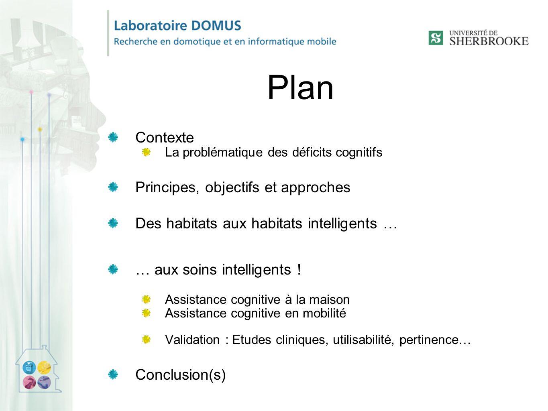 Plan Contexte La problématique des déficits cognitifs Principes, objectifs et approches Des habitats aux habitats intelligents … … aux soins intelligents .