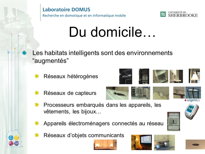 Du domicile… Les habitats intelligents sont des environnements augmentés Réseaux hétérogènes Réseaux de capteurs Processeurs embarqués dans les appareils, les vêtements, les bijoux… Appareils électroménagers connectés au réseau Réseaux d'objets communicants