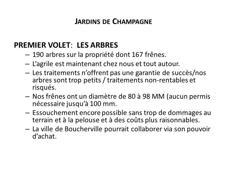 J ARDINS DE C HAMPAGNE PREMIER VOLET: LES ARBRES – 190 arbres sur la propriété dont 167 frênes.