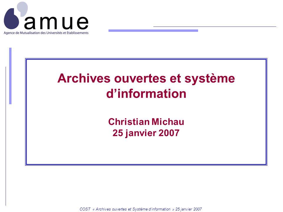 Mission SI COST « Archives ouvertes et Système d'information » 25 janvier 2007 2 Les éléments de l'interopérabilité 2 référentiels principaux :  référentiel des unités de recherche  référentiel des disciplines Les flux entre Hal et le SI : Le SI client de Hal Le SI médiateur de Hal Le SI partenaire de Hal