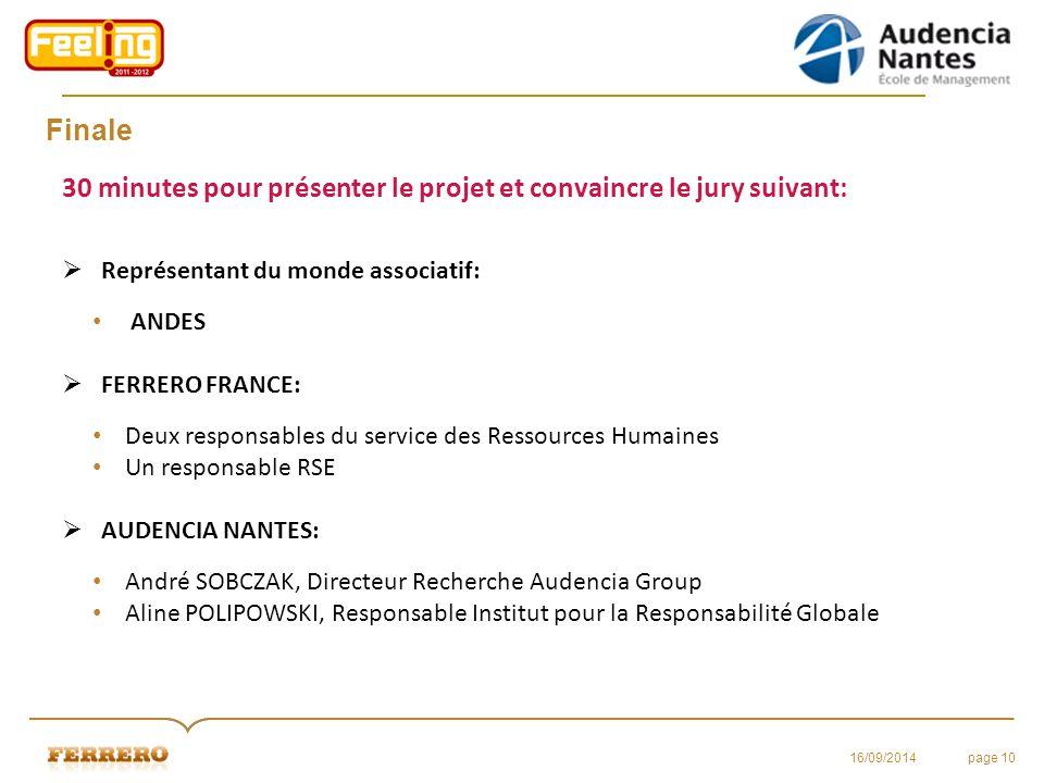 Finale 30 minutes pour présenter le projet et convaincre le jury suivant:  Représentant du monde associatif: ANDES  FERRERO FRANCE: Deux responsable