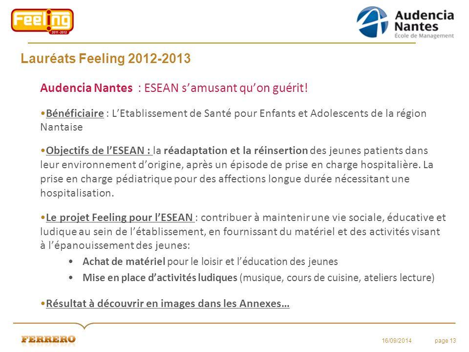 Lauréats Feeling 2012-2013 Audencia Nantes : ESEAN s'amusant qu'on guérit! Bénéficiaire : L'Etablissement de Santé pour Enfants et Adolescents de la r
