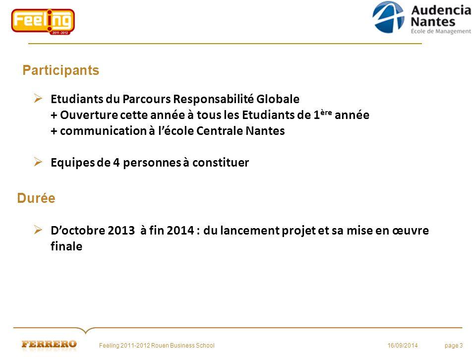 Participants 16/09/2014Feeling 2011-2012 Rouen Business Schoolpage 3 Durée  D'octobre 2013 à fin 2014 : du lancement projet et sa mise en œuvre final