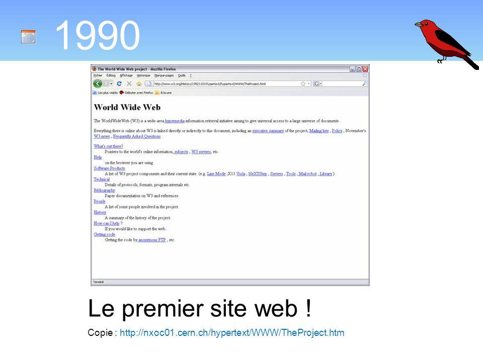 1990 Le premier site web ! Copie : http://nxoc01.cern.ch/hypertext/WWW/TheProject.htm