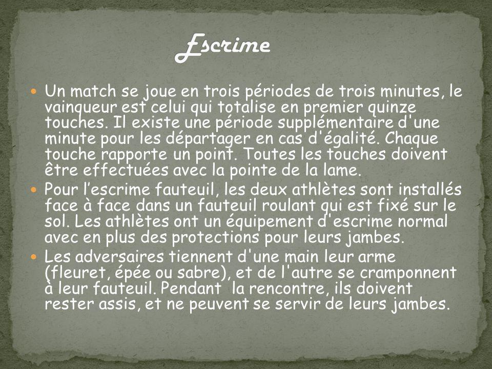 Un match se joue en trois périodes de trois minutes, le vainqueur est celui qui totalise en premier quinze touches.