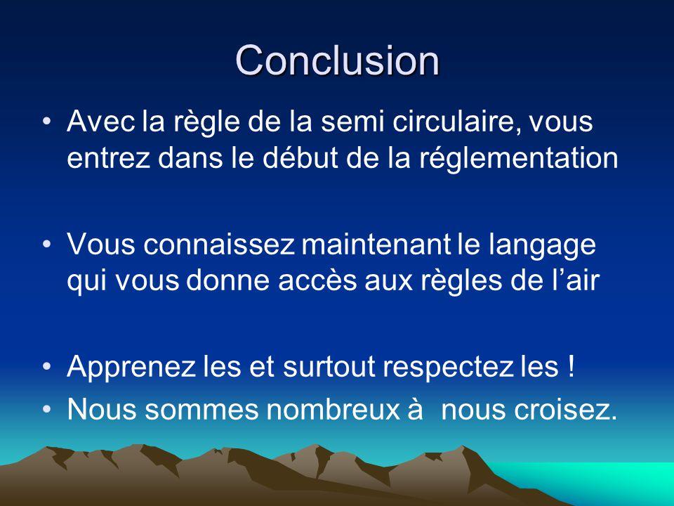 Conclusion Avec la règle de la semi circulaire, vous entrez dans le début de la réglementation Vous connaissez maintenant le langage qui vous donne accès aux règles de l'air Apprenez les et surtout respectez les .