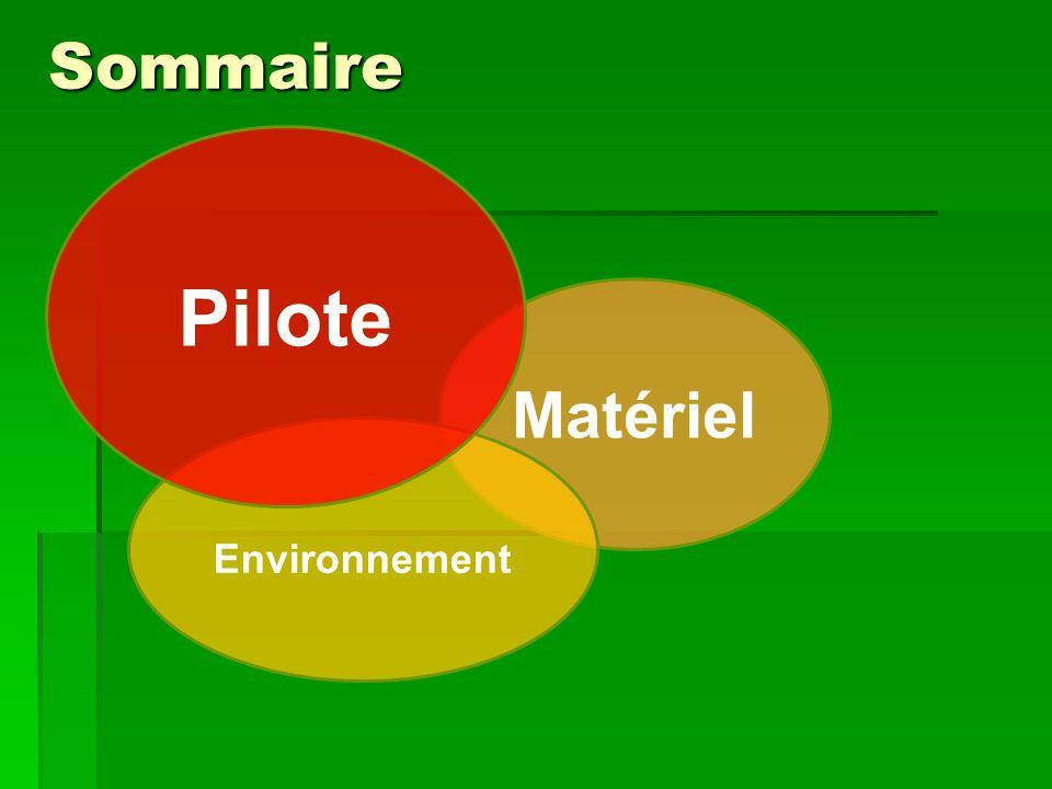 Sommaire Matériel Environnement Pilote