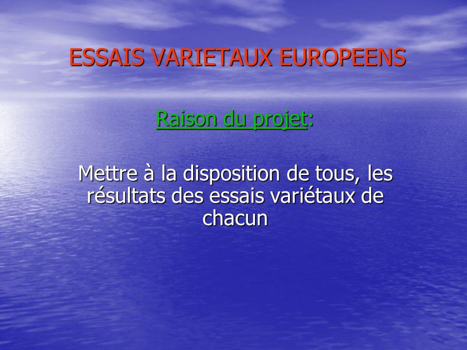 ESSAIS VARIETAUX EUROPEENS Raison du projet: Mettre à la disposition de tous, les résultats des essais variétaux de chacun