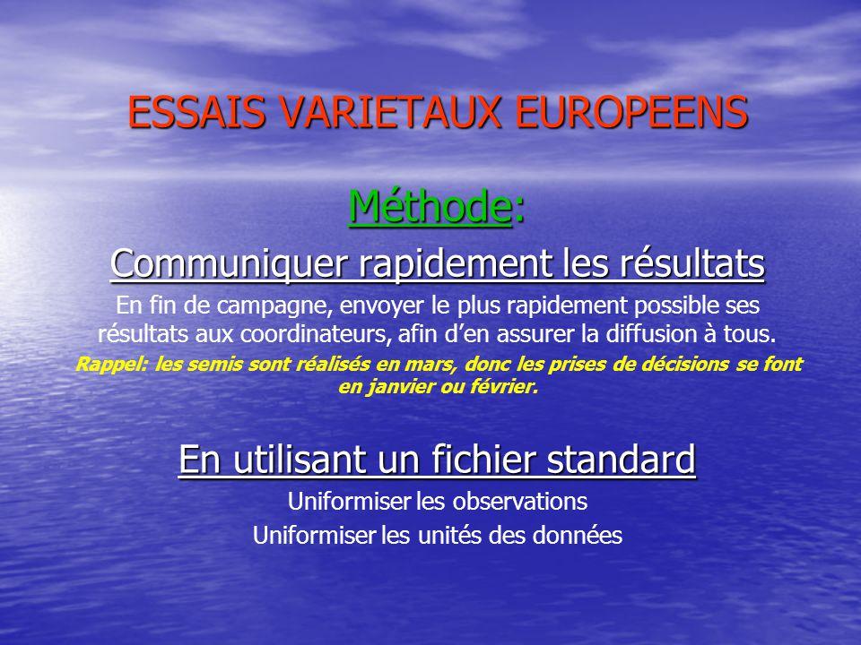 ESSAIS VARIETAUX EUROPEENS Méthode: Communiquer rapidement les résultats En fin de campagne, envoyer le plus rapidement possible ses résultats aux coordinateurs, afin d'en assurer la diffusion à tous.