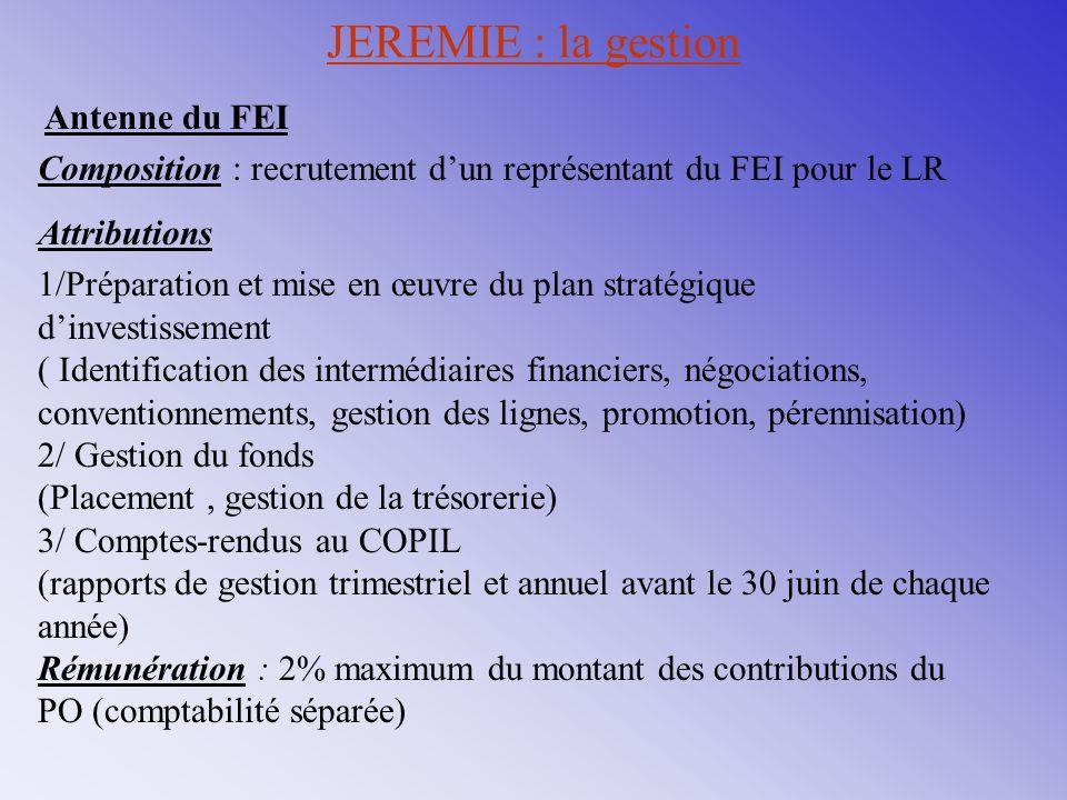 JEREMIE : la gestion Antenne du FEI Composition : recrutement d'un représentant du FEI pour le LR Attributions 1/Préparation et mise en œuvre du plan