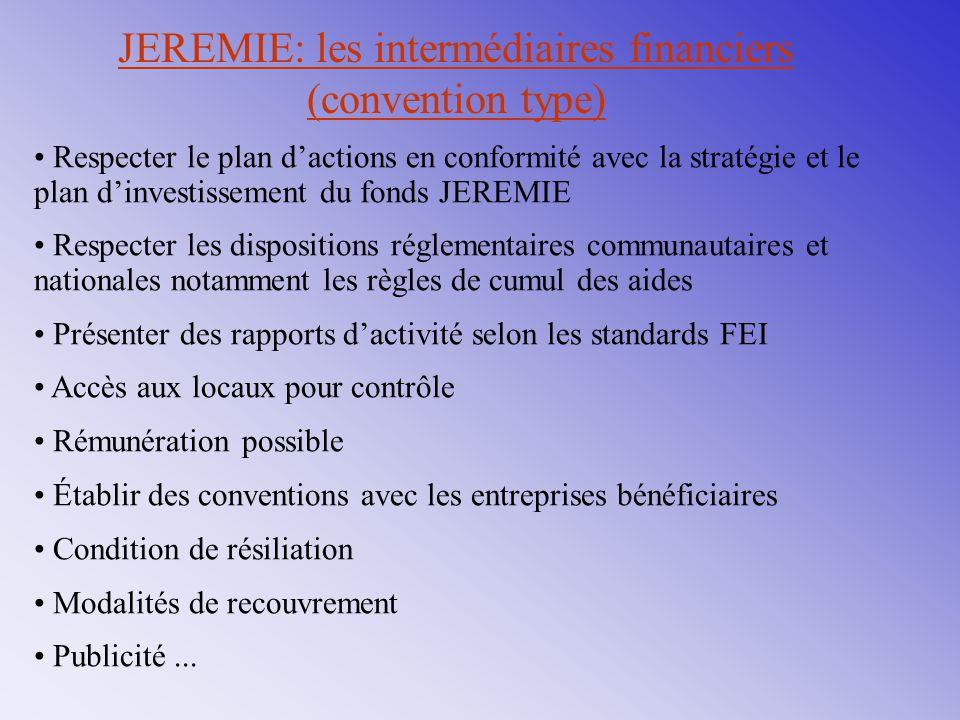 JEREMIE: les intermédiaires financiers (convention type) Respecter le plan d'actions en conformité avec la stratégie et le plan d'investissement du fo