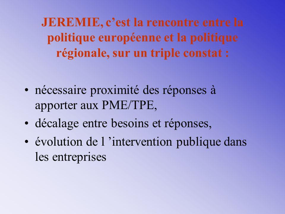 JEREMIE, c'est la rencontre entre la politique européenne et la politique régionale, sur un triple constat : nécessaire proximité des réponses à appor