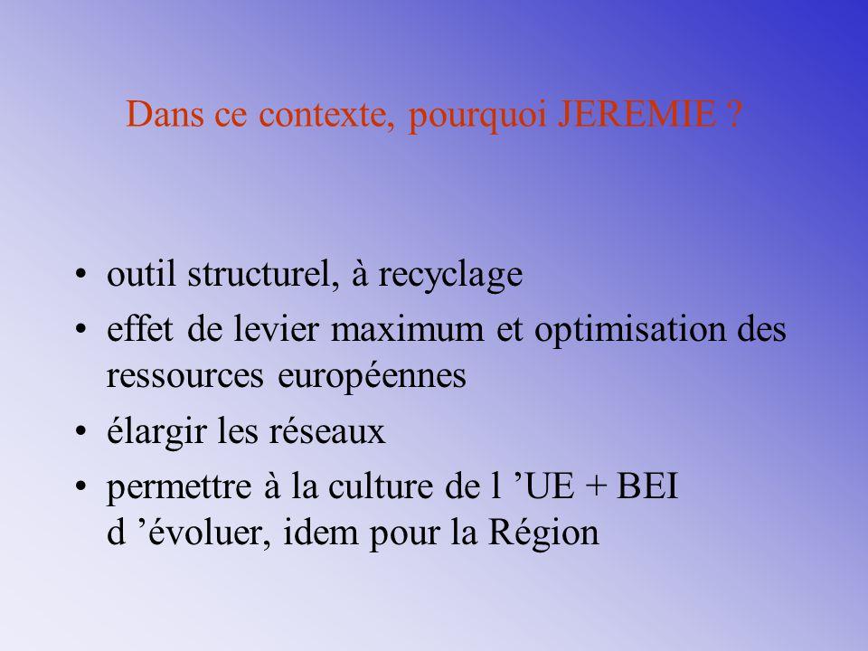 Dans ce contexte, pourquoi JEREMIE ? outil structurel, à recyclage effet de levier maximum et optimisation des ressources européennes élargir les rése