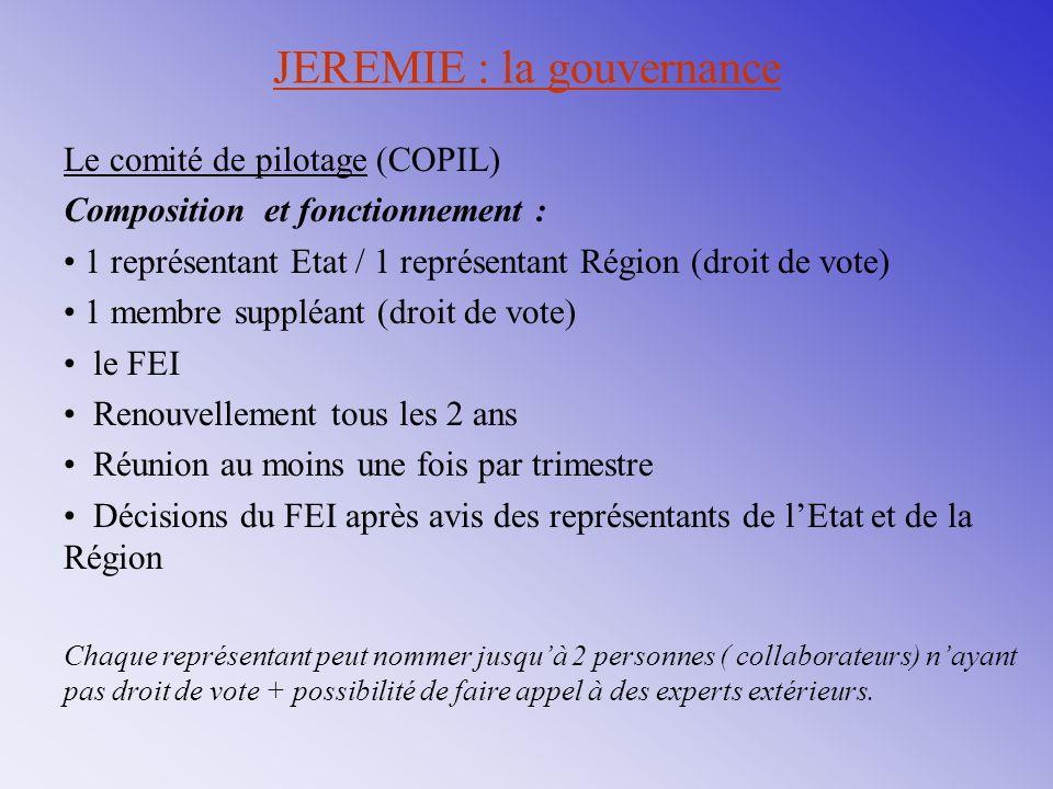 JEREMIE : la gouvernance Le comité de pilotage (COPIL) Composition et fonctionnement : 1 représentant Etat / 1 représentant Région (droit de vote) 1 m