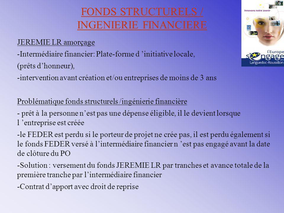 FONDS STRUCTURELS / INGENIERIE FINANCIERE JEREMIE LR amorçage -Intermédiaire financier: Plate-forme d 'initiative locale, (prêts d'honneur), -interven