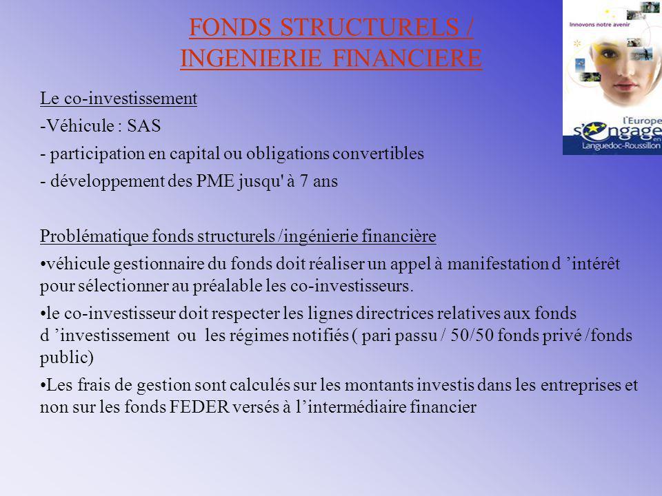 FONDS STRUCTURELS / INGENIERIE FINANCIERE Le co-investissement -Véhicule : SAS - participation en capital ou obligations convertibles - développement