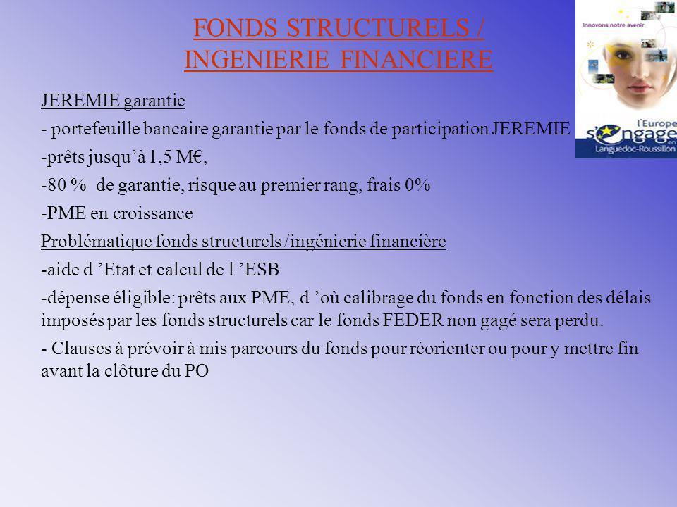 FONDS STRUCTURELES ET INGENIERIE FINANCIERE Les obstacles levés à rappeler Sur le versement des fonds FEDER (subvention), Sur la propriété du fonds (Languedoc-Roussillon dès les premiers désinvestissements), Les obstacles à lever Les délais: des incohérences entre les délais des fonds d 'investissement et ceux des fonds structurels.