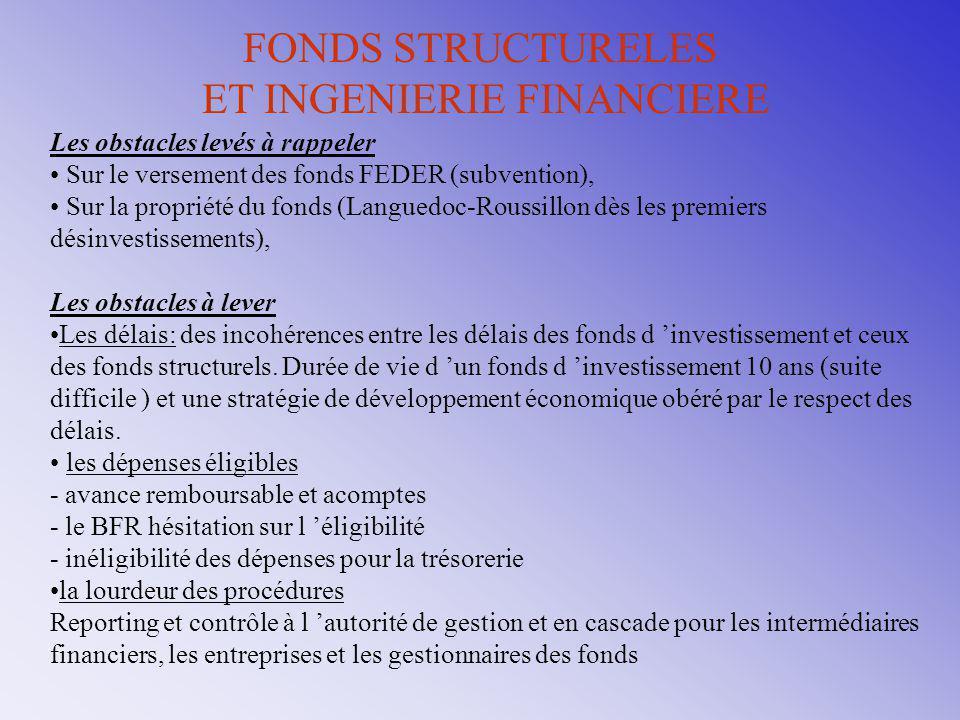 FONDS STRUCTURELES ET INGENIERIE FINANCIERE Les obstacles levés à rappeler Sur le versement des fonds FEDER (subvention), Sur la propriété du fonds (L