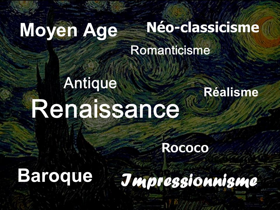 Antique Moyen Age Renaissance Baroque Rococo Néo-classicisme Romanticisme Réalisme Impressionnisme