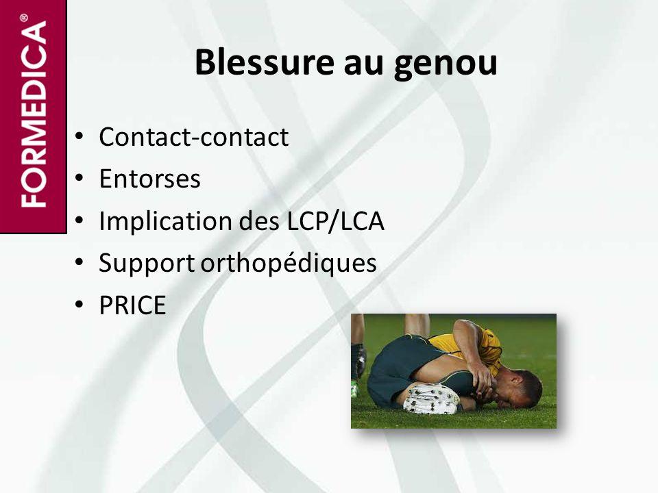 Blessure au genou Contact-contact Entorses Implication des LCP/LCA Support orthopédiques PRICE