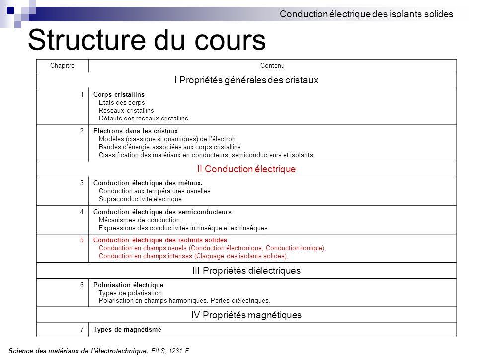 Science des matériaux de l'électrotechnique, FILS, 1231 F Conduction électrique des isolants solides Structure du cours ChapitreContenu I Propriétés g