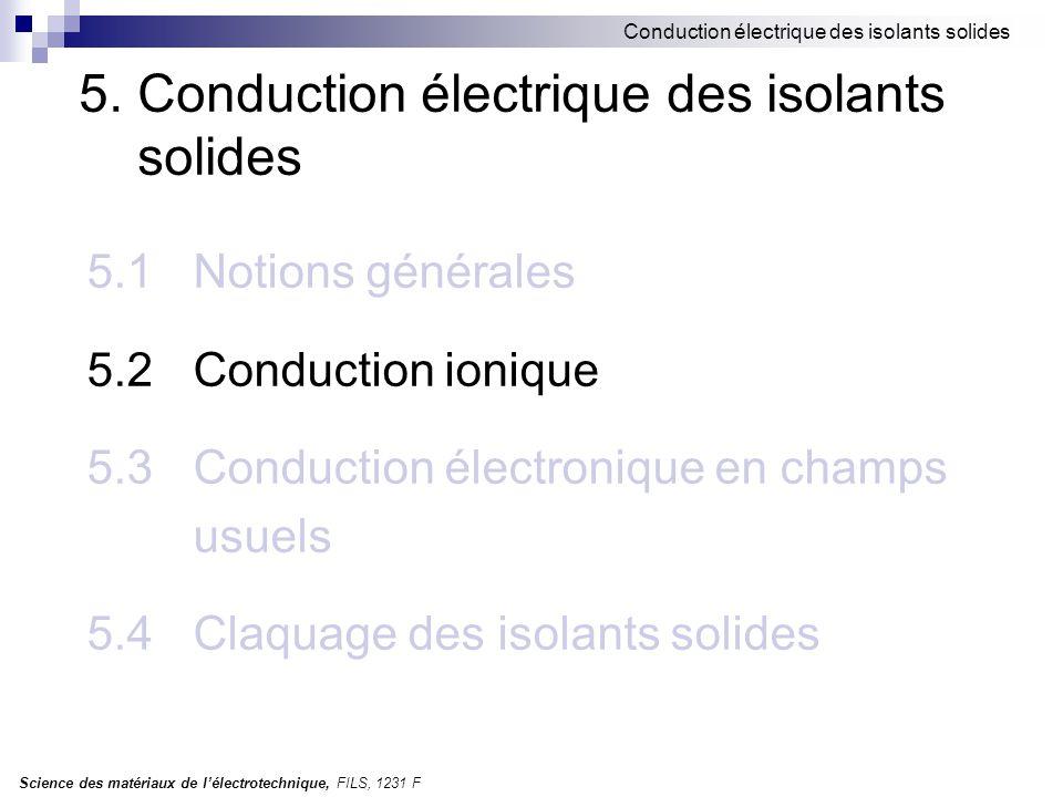 Science des matériaux de l'électrotechnique, FILS, 1231 F Conduction électrique des isolants solides 5.2 Conduction ionique Hypothèses: cristal ionique conduction due aux ions positifs des interstices