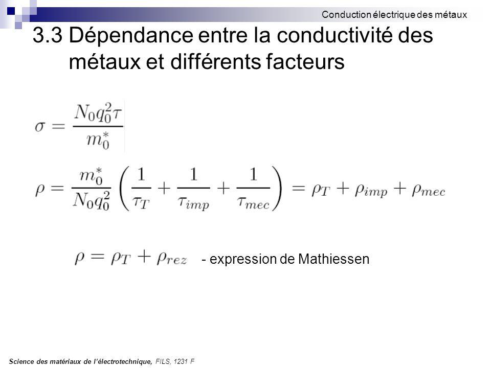Science des matériaux de l'électrotechnique, FILS, 1231 F Conduction électrique des métaux 3.3 Dépendance entre la conductivité des métaux et différents facteurs - expression de Mathiessen