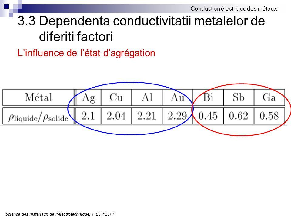 Science des matériaux de l'électrotechnique, FILS, 1231 F Conduction électrique des métaux 3.3 Dependenta conductivitatii metalelor de diferiti factor