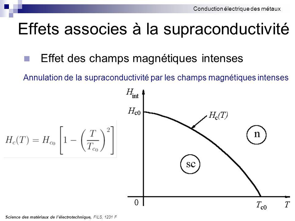 Science des matériaux de l'électrotechnique, FILS, 1231 F Conduction électrique des métaux Effets associes à la supraconductivité Effet des champs magnétiques intenses Annulation de la supraconductivité par les champs magnétiques intenses