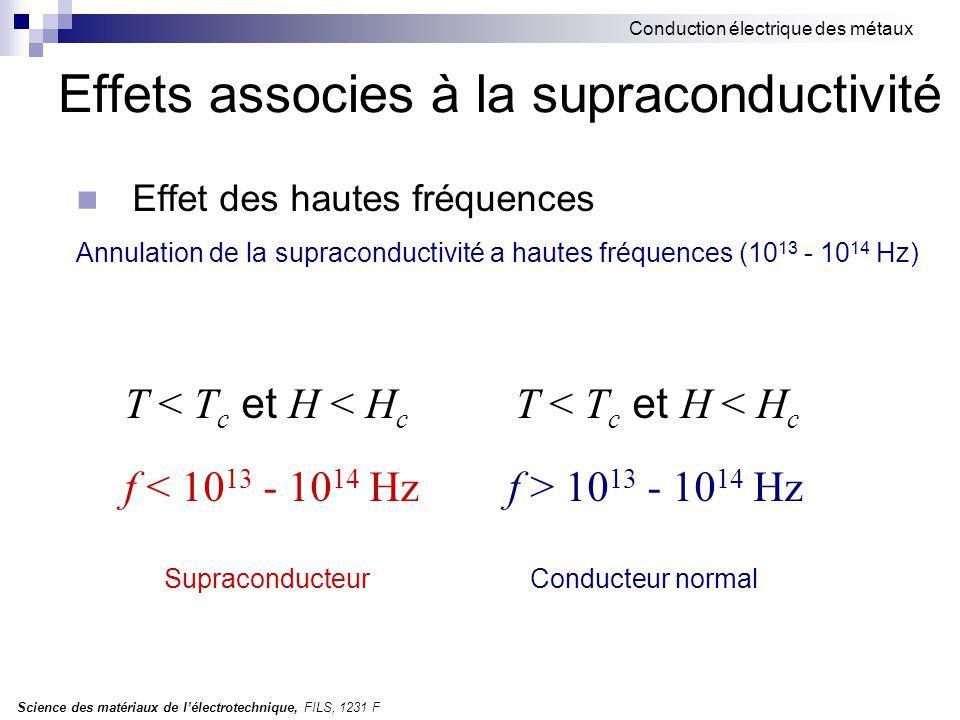 Science des matériaux de l'électrotechnique, FILS, 1231 F Conduction électrique des métaux Effets associes à la supraconductivité Effet des hautes fré