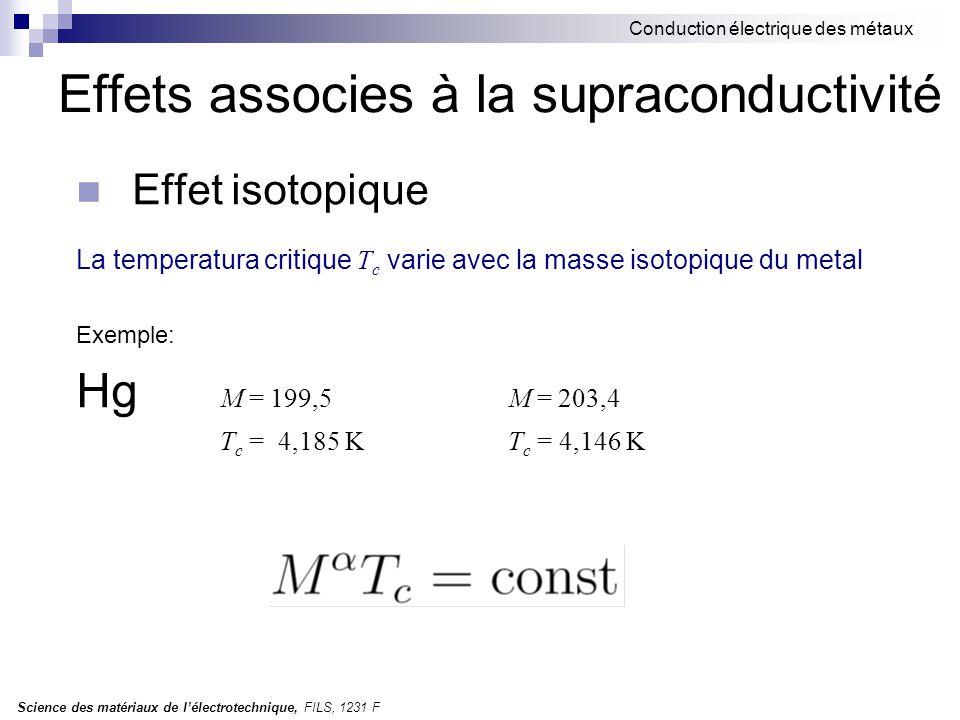 Science des matériaux de l'électrotechnique, FILS, 1231 F Conduction électrique des métaux Effets associes à la supraconductivité Effet isotopique La temperatura critique T c varie avec la masse isotopique du metal Exemple: Hg M = 199,5M = 203,4 T c = 4,185 KT c = 4,146 K
