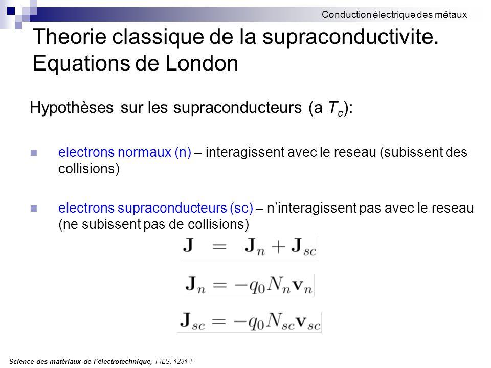 Science des matériaux de l'électrotechnique, FILS, 1231 F Conduction électrique des métaux Theorie classique de la supraconductivite. Equations de Lon