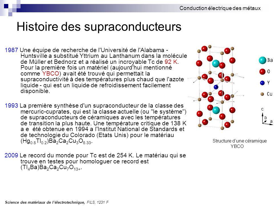 Science des matériaux de l'électrotechnique, FILS, 1231 F Conduction électrique des métaux Histoire des supraconducteurs 1987 Une équipe de recherche