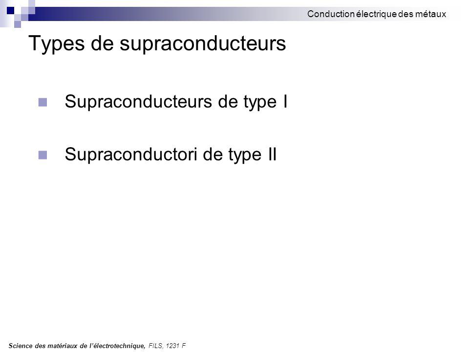Science des matériaux de l'électrotechnique, FILS, 1231 F Conduction électrique des métaux Types de supraconducteurs Supraconducteurs de type I Supraconductori de type II