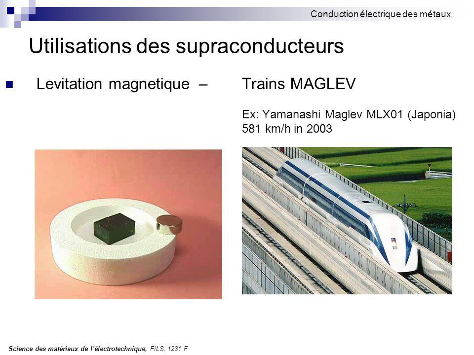 Science des matériaux de l'électrotechnique, FILS, 1231 F Conduction électrique des métaux Utilisations des supraconducteurs Levitation magnetique – Trains MAGLEV Ex: Yamanashi Maglev MLX01 (Japonia) 581 km/h in 2003