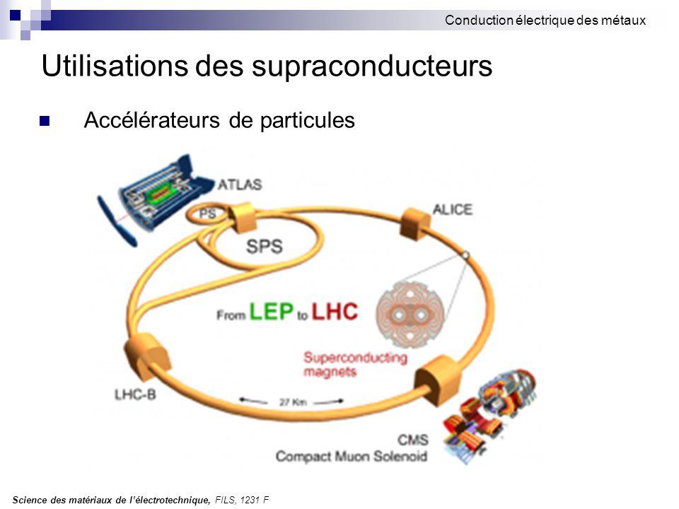 Science des matériaux de l'électrotechnique, FILS, 1231 F Conduction électrique des métaux Utilisations des supraconducteurs Accélérateurs de particul