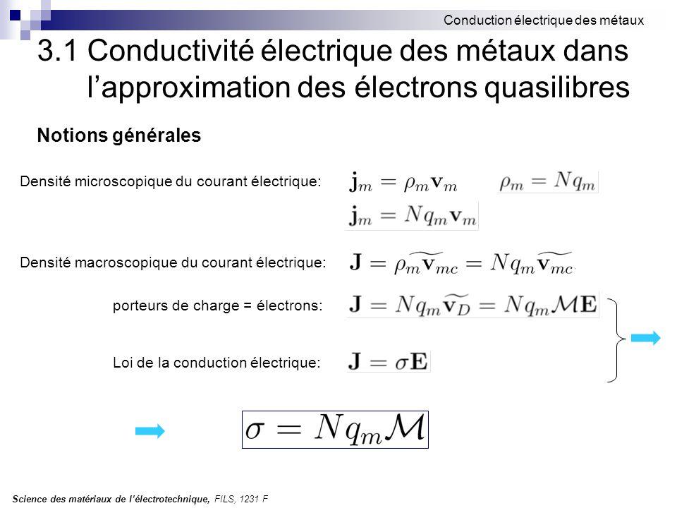 Science des matériaux de l'électrotechnique, FILS, 1231 F Conduction électrique des métaux Notions générales Densité microscopique du courant électrique: Densité macroscopique du courant électrique: porteurs de charge = électrons: Loi de la conduction électrique: 3.1 Conductivité électrique des métaux dans l'approximation des électrons quasilibres