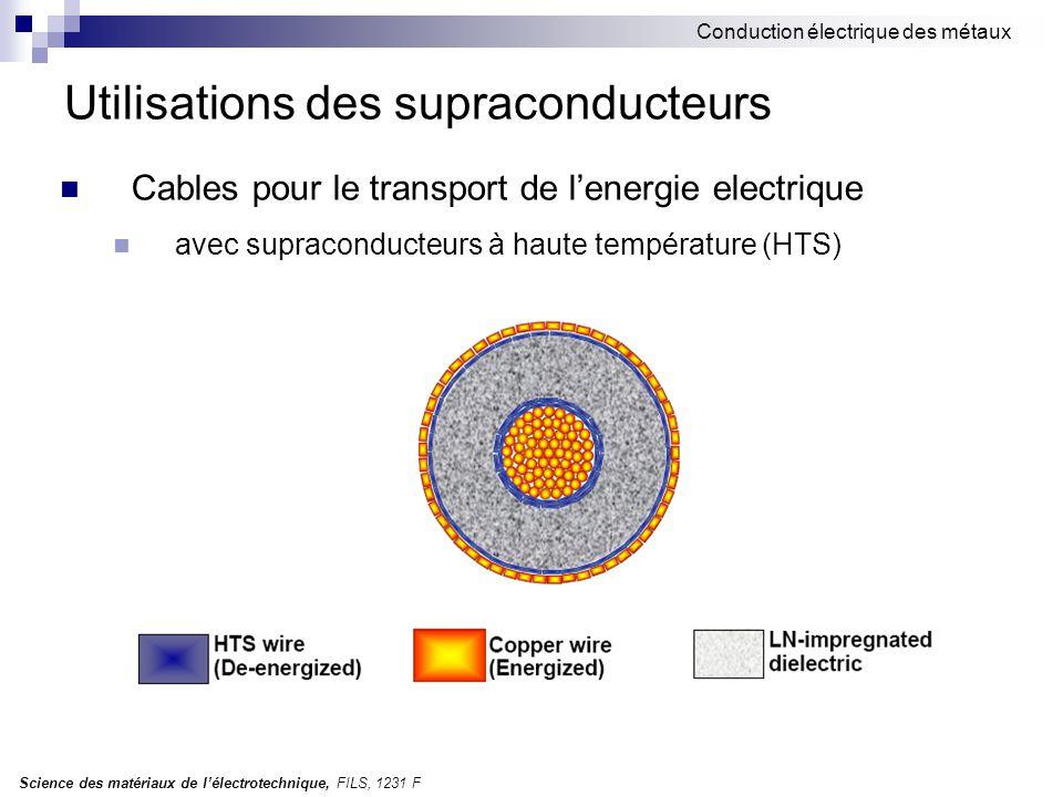 Science des matériaux de l'électrotechnique, FILS, 1231 F Conduction électrique des métaux Utilisations des supraconducteurs Cables pour le transport
