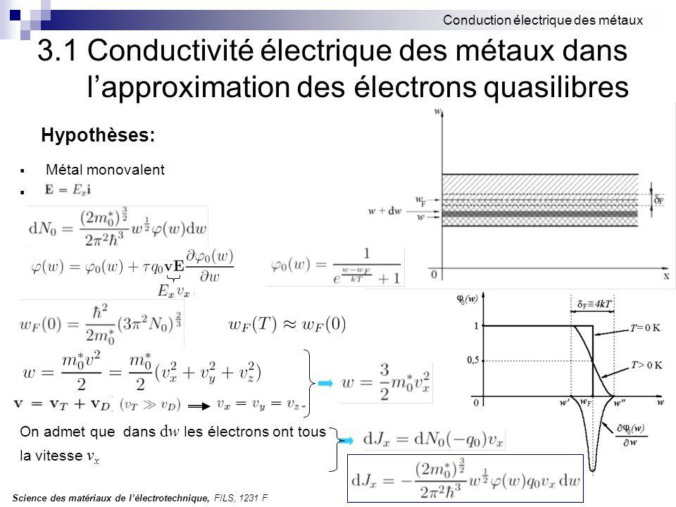 Science des matériaux de l'électrotechnique, FILS, 1231 F Conduction électrique des métaux Hypothèses:  Métal monovalent . On admet que dans dw les
