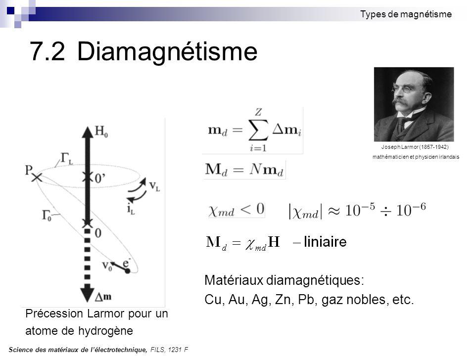 Science des matériaux de l'électrotechnique, FILS, 1231 F Types de magnétisme 7.2 Diamagnétisme Matériaux diamagnétiques: Cu, Au, Ag, Zn, Pb, gaz nobl