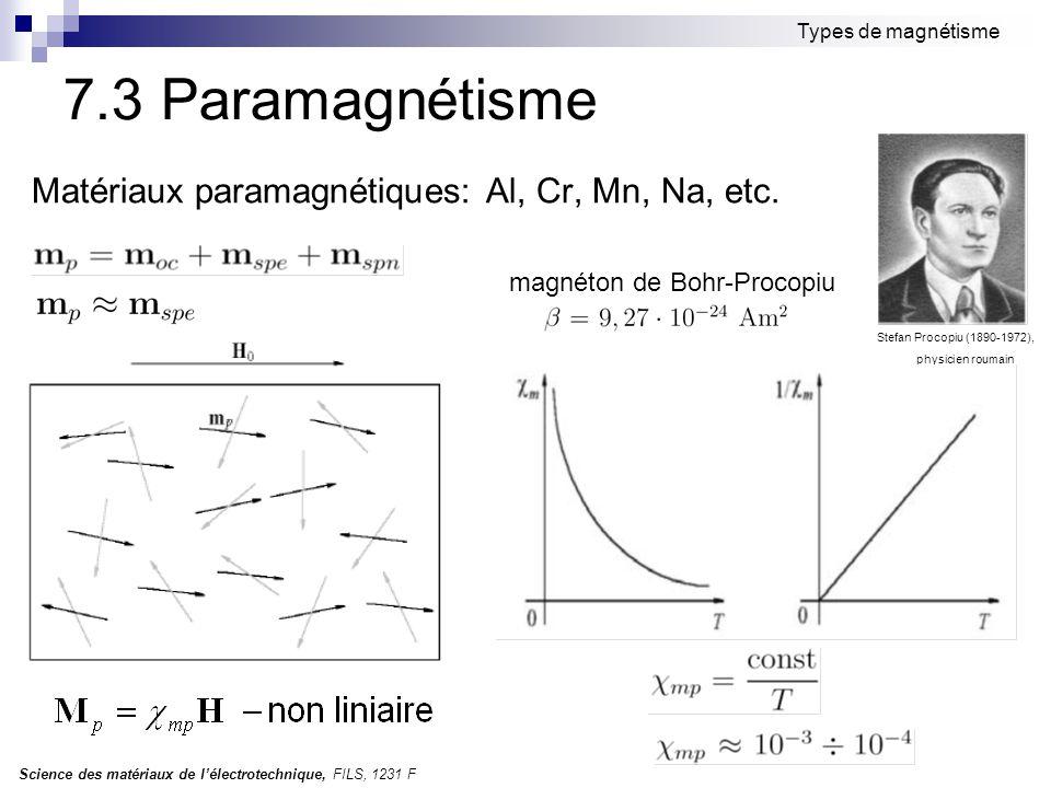 Science des matériaux de l'électrotechnique, FILS, 1231 F Types de magnétisme 7.3 Paramagnétisme Matériaux paramagnétiques: Al, Cr, Mn, Na, etc. Stefa