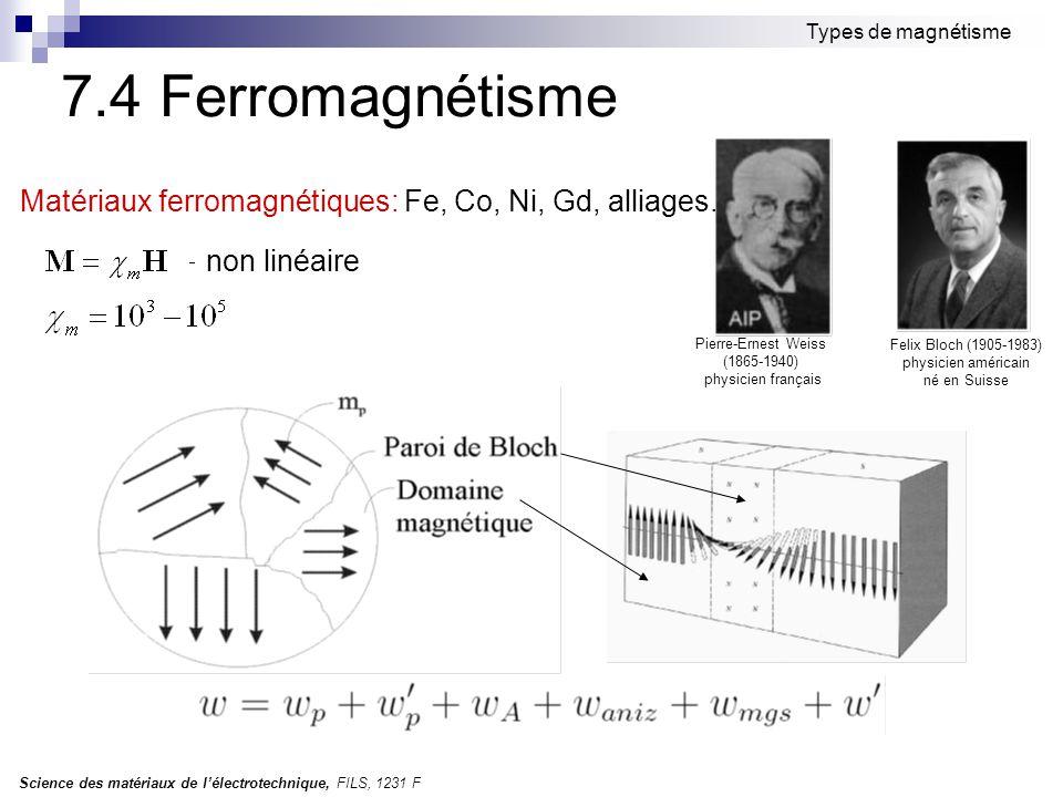 Science des matériaux de l'électrotechnique, FILS, 1231 F Types de magnétisme 7.4 Ferromagnétisme Matériaux ferromagnétiques: Fe, Co, Ni, Gd, alliages