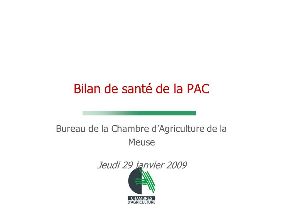 Bilan de santé de la PAC Bureau de la Chambre d'Agriculture de la Meuse Jeudi 29 janvier 2009