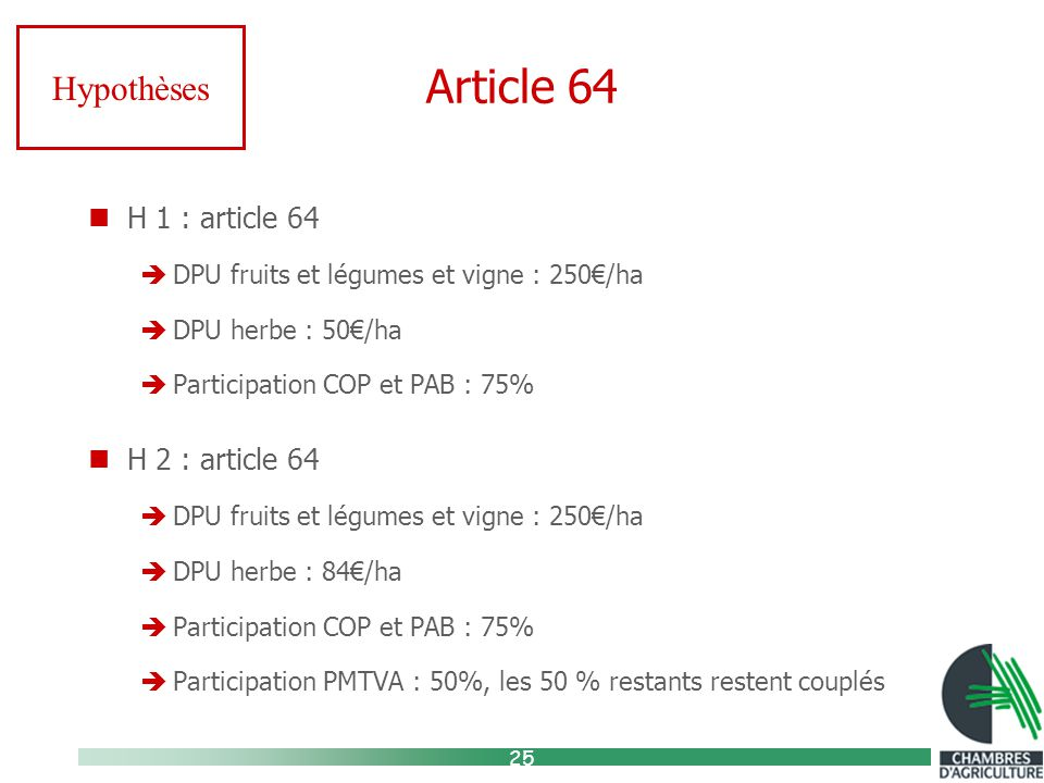 25 Article 64 H 1 : article 64  DPU fruits et légumes et vigne : 250€/ha  DPU herbe : 50€/ha  Participation COP et PAB : 75% H 2 : article 64  DPU