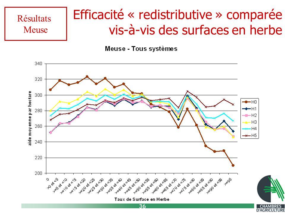 36 Efficacité « redistributive » comparée vis-à-vis des surfaces en herbe Résultats Meuse