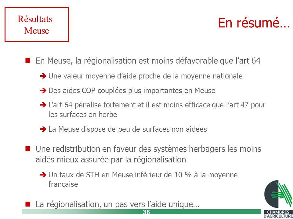 38 En résumé… Résultats Meuse En Meuse, la régionalisation est moins défavorable que l'art 64  Une valeur moyenne d'aide proche de la moyenne nationale  Des aides COP couplées plus importantes en Meuse  L'art 64 pénalise fortement et il est moins efficace que l'art 47 pour les surfaces en herbe  La Meuse dispose de peu de surfaces non aidées Une redistribution en faveur des systèmes herbagers les moins aidés mieux assurée par la régionalisation  Un taux de STH en Meuse inférieur de 10 % à la moyenne française La régionalisation, un pas vers l'aide unique…
