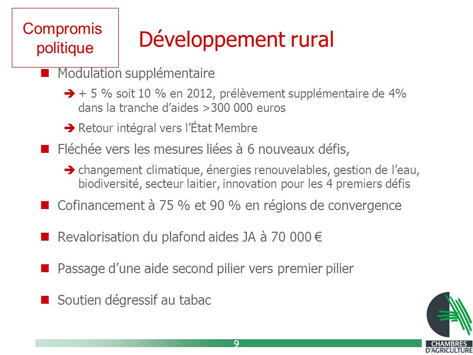 9 Développement rural Modulation supplémentaire  + 5 % soit 10 % en 2012, prélèvement supplémentaire de 4% dans la tranche d'aides >300 000 euros  Retour intégral vers l'État Membre Fléchée vers les mesures liées à 6 nouveaux défis,  changement climatique, énergies renouvelables, gestion de l'eau, biodiversité, secteur laitier, innovation pour les 4 premiers défis Cofinancement à 75 % et 90 % en régions de convergence Revalorisation du plafond aides JA à 70 000 € Passage d'une aide second pilier vers premier pilier Soutien dégressif au tabac Compromis politique
