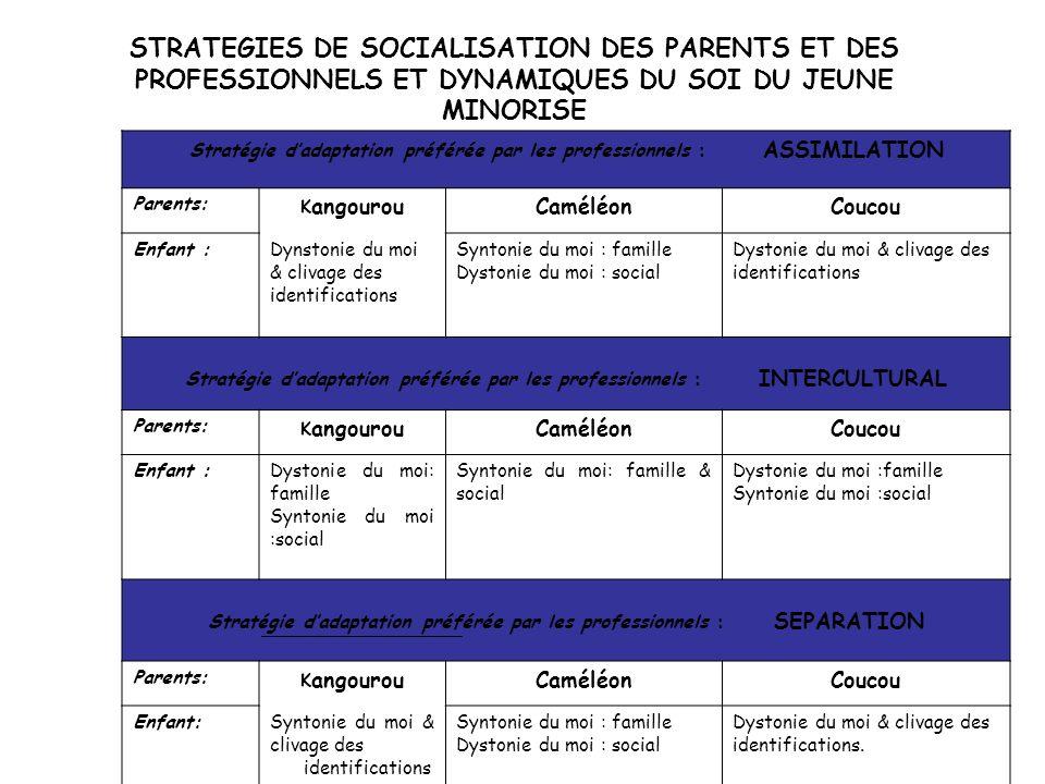 Stratégie d'adaptation préférée par les professionnels : ASSIMILATION Parents: K angourouCaméléonCoucou Enfant :Dynstonie du moi & clivage des identif