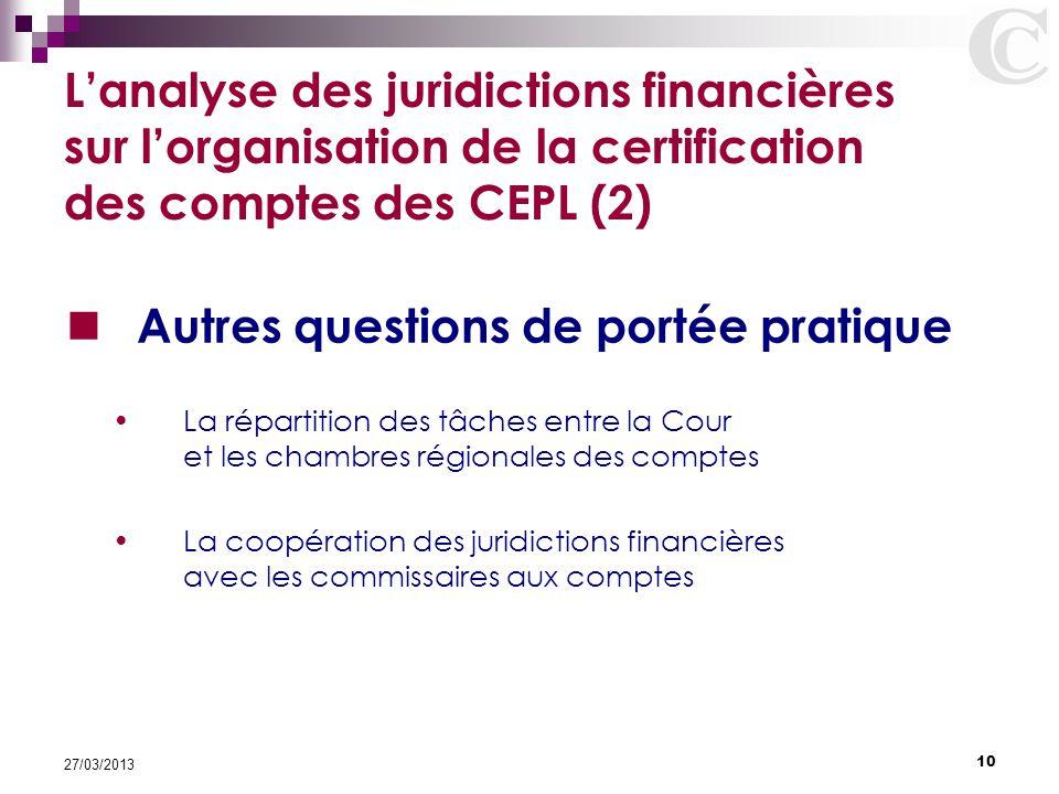 10 27/03/2013 L'analyse des juridictions financières sur l'organisation de la certification des comptes des CEPL (2) Autres questions de portée pratiq